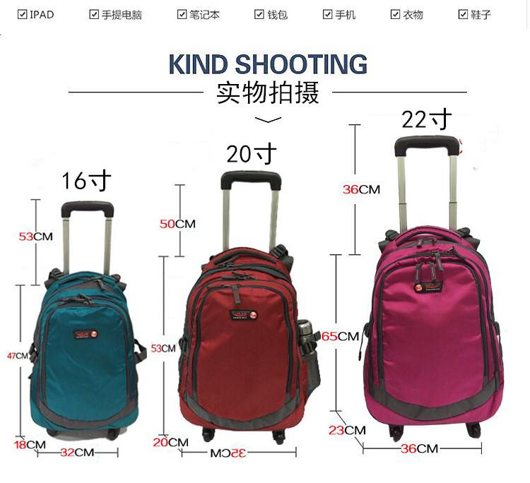 新品双肩拉杆背包万向轮可拆旅行箱防水行李袋超轻电脑包商务登机