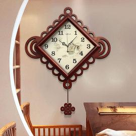 中国结中国风钟表挂钟客厅复古中式时钟静音摆钟家用装饰大装饰表