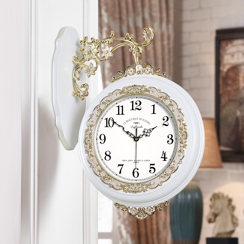 爱时达静音简约双面钟表美式客厅两面挂钟北欧田园石英钟欧式壁钟 Изображение 1