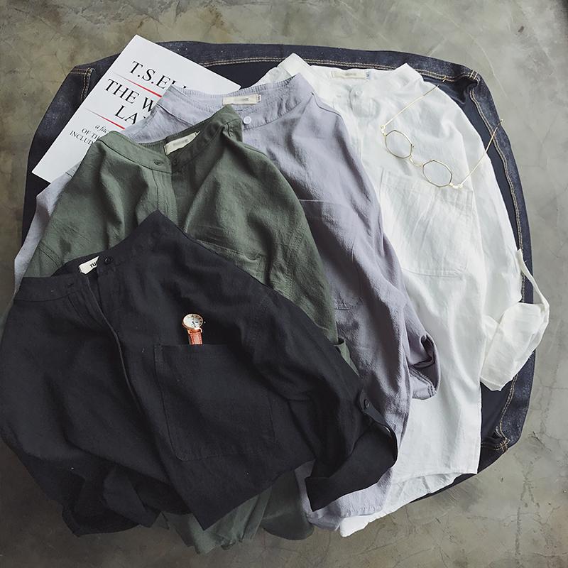 夏季休闲立领纯色七分袖纯色衬衫ZC371P40   面料:100棉 【限价5