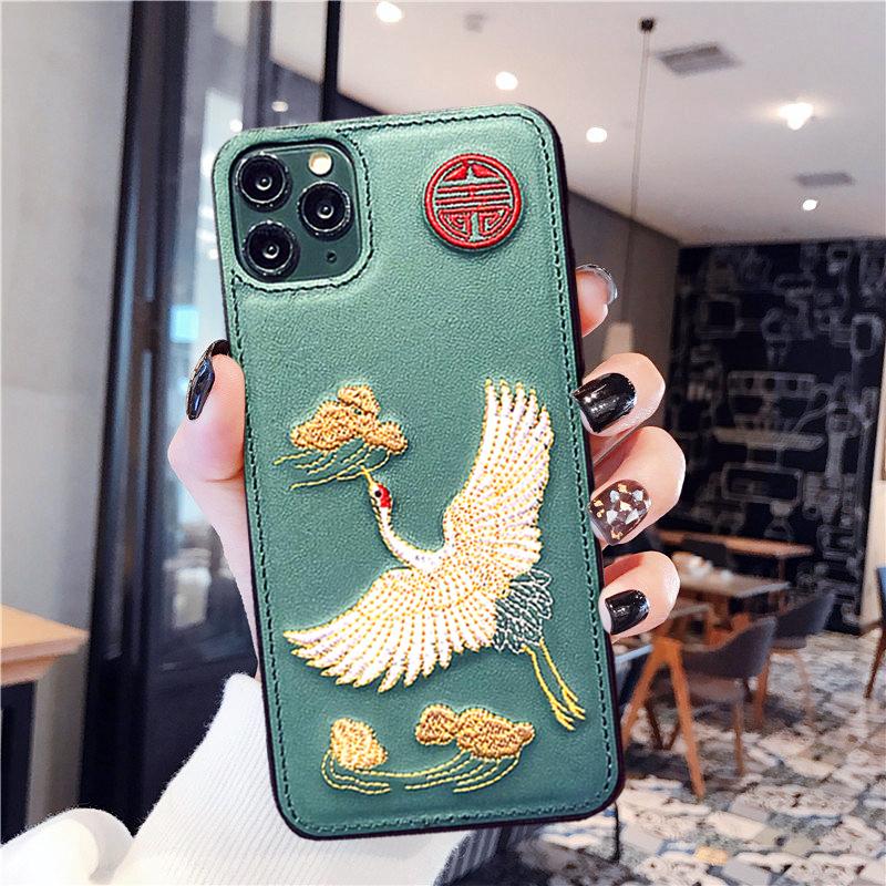 アップルXのケースに適用されます。国際的な人気のあるブランドiphone 11 promaxの刺繍8 plus男女6 sp中国風創意X/XSソフトXRソフト7 p個性的なツル模様のカップルです。
