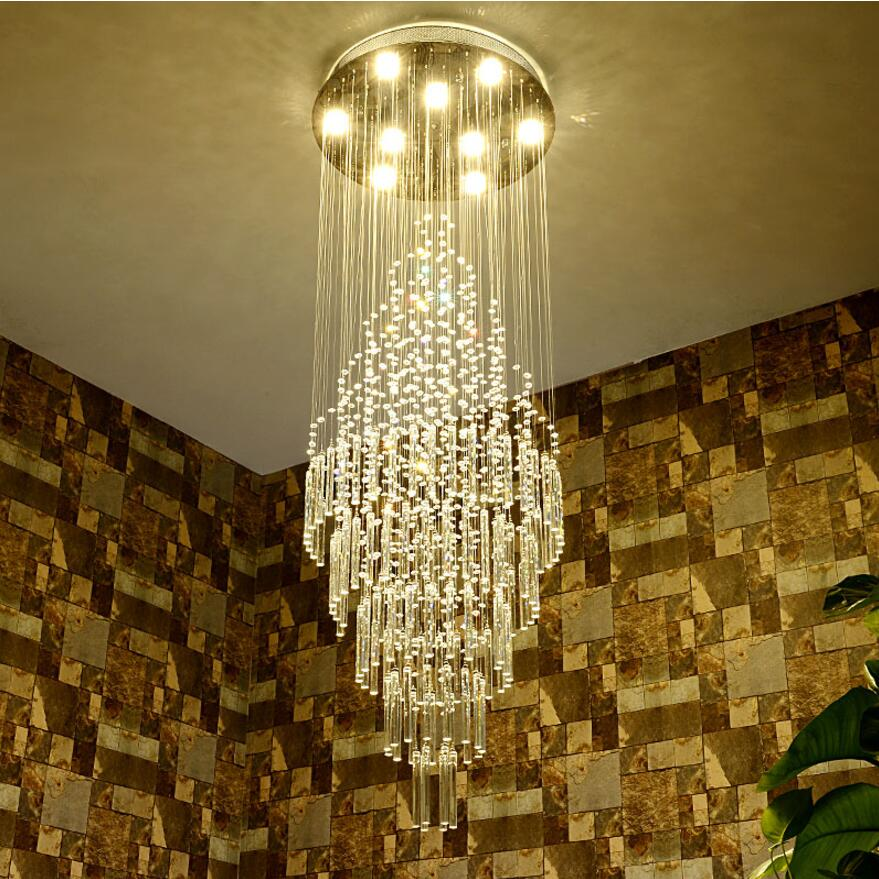Duplex living room large chandelier hotel hall villa stairwell hollow small loft mid floor Crystal Chandelier