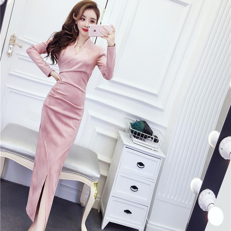 2018冬季新款女装韩版气质名媛长袖修身显瘦包臀裙开叉连衣裙长裙