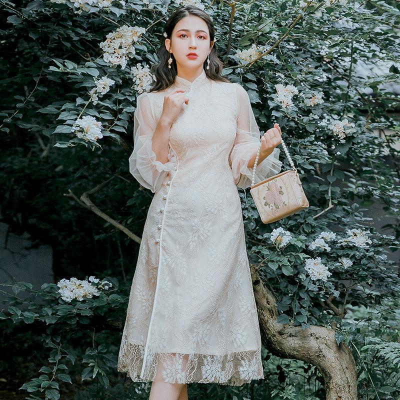 复古女装中国风新式旗袍改良版修身连衣裙年轻款少女日常优雅民国12-01新券