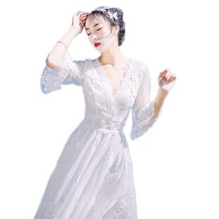 文藝白色露背喇叭袖蕾絲連衣裙大擺海邊漏背沙灘仙女拍照婚紗長裙