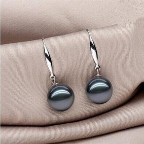 天然大溪地海水黑绿珍珠925银耳钩