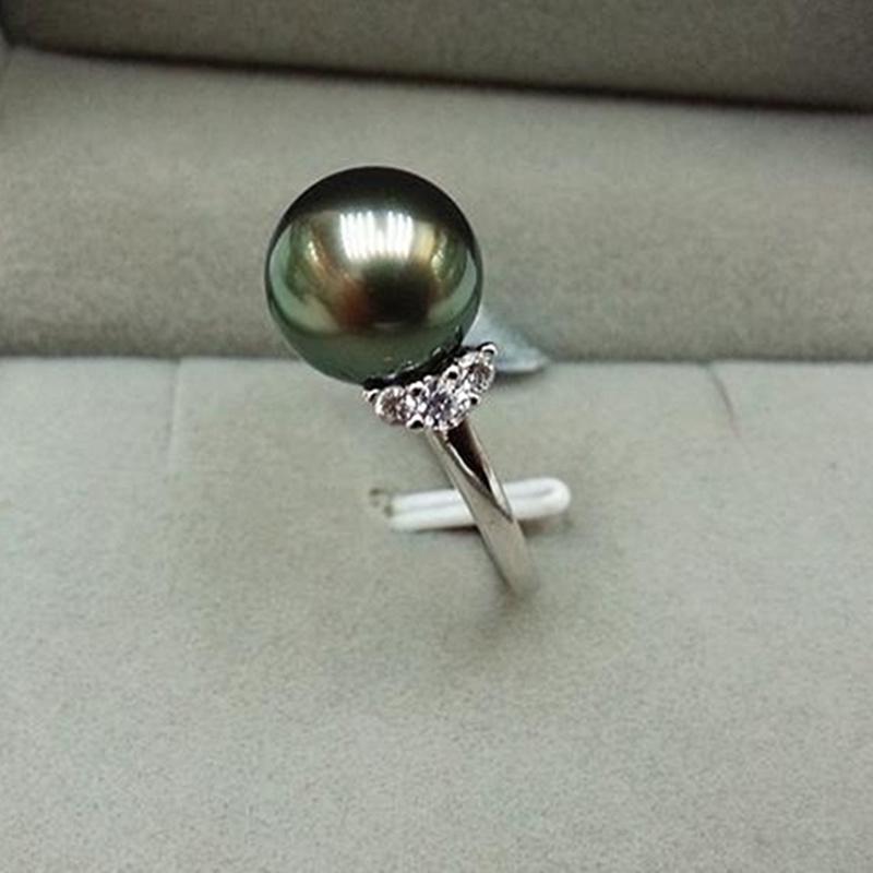 天然大溪地母贝黑绿珍珠戒指925银活口可调大小指环时尚百搭女款