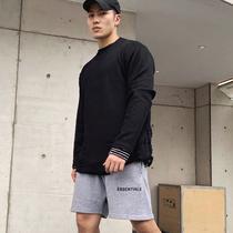 运动毛衣男长袖2019新款圆领秋季健身休闲破洞黑色纯棉宽松外套