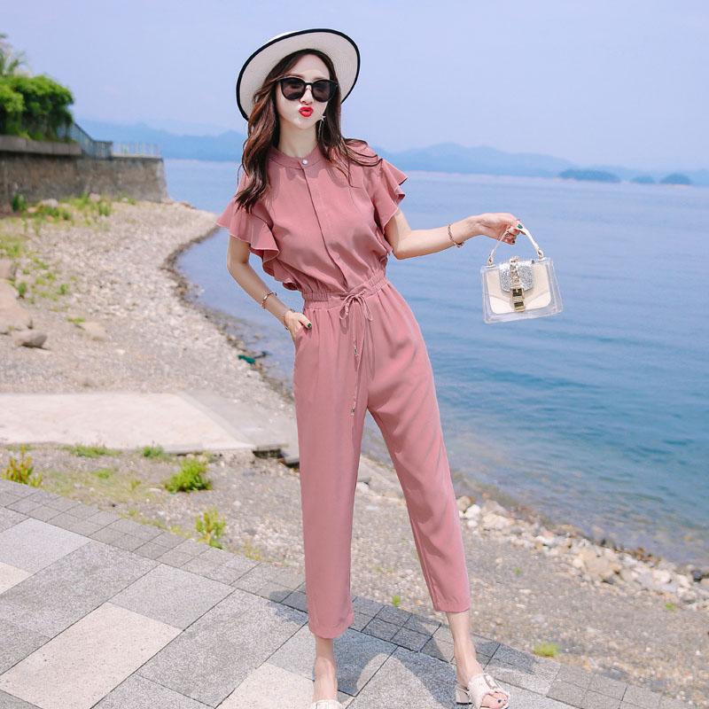 连体裤套装女夏季气质雪纺七分连身裤薄款2020年小个子名媛连衣裤