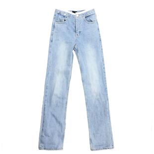 牛仔褲女高腰韓版直筒寬鬆淺色泫雅拖地超顯瘦拼接闊腿長款褲子潮