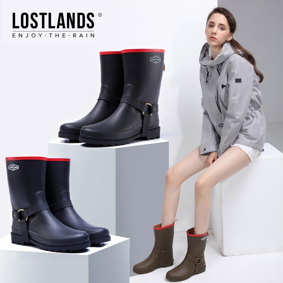 手工雨鞋春季时尚法式优雅铜环帅气女橡胶鞋雨靴中筒马丁防水鞋套