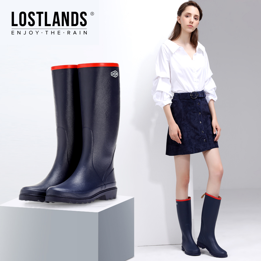 法式春夏季款橡胶鞋女式雨鞋时尚高筒女士雨靴皮纹雨靴潮鞋水鞋女