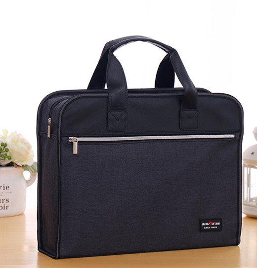 Business Oxford canvas file bag large capacity multi-layer zipper briefcase portable men and women office meeting bag customization