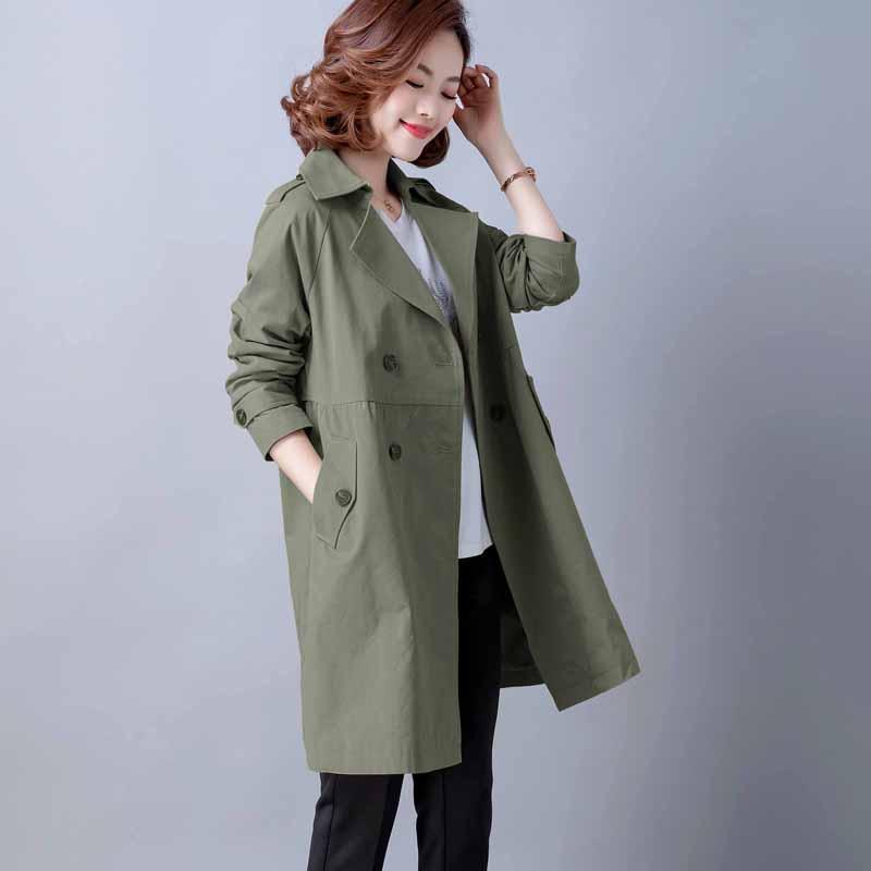2020新款妈妈春装纯棉风衣女中长款大码中年女士气质减龄休闲外套