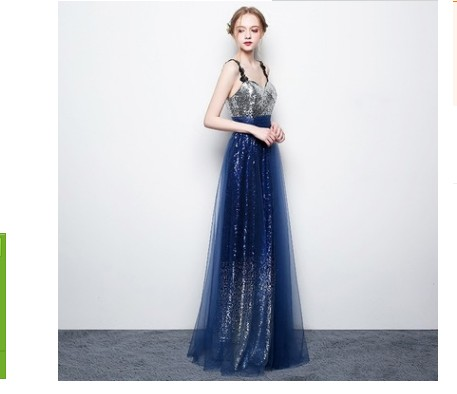 Evening 2018 lace banquet slim skirt long party annual meeting host suspender dress sexy sequins