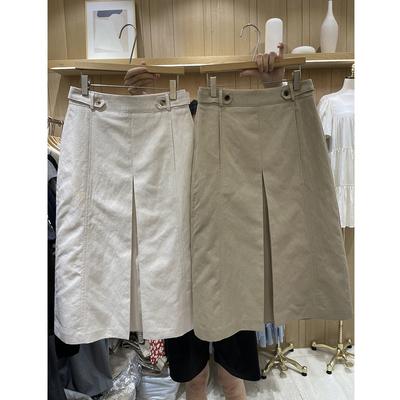 韩国东大门2021夏季新款时尚高腰开叉半身裙女气质纯色A字中长裙