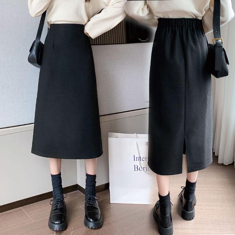 半身裙女秋季2020新款黑色開叉包臀高腰A字一步裙秋冬中長款裙子