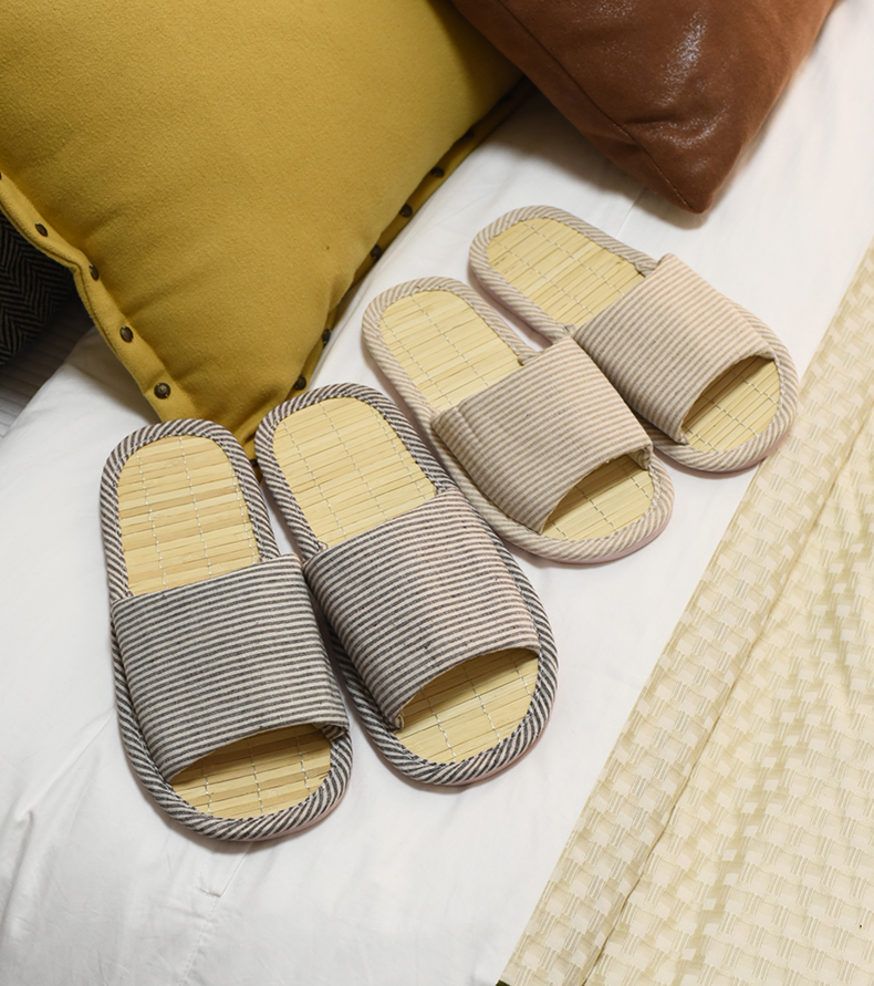 Household slippers women men childrens cotton linen home indoor floor soft bottom cloth anti slip batch spring and autumn bamboo four seasons hair care