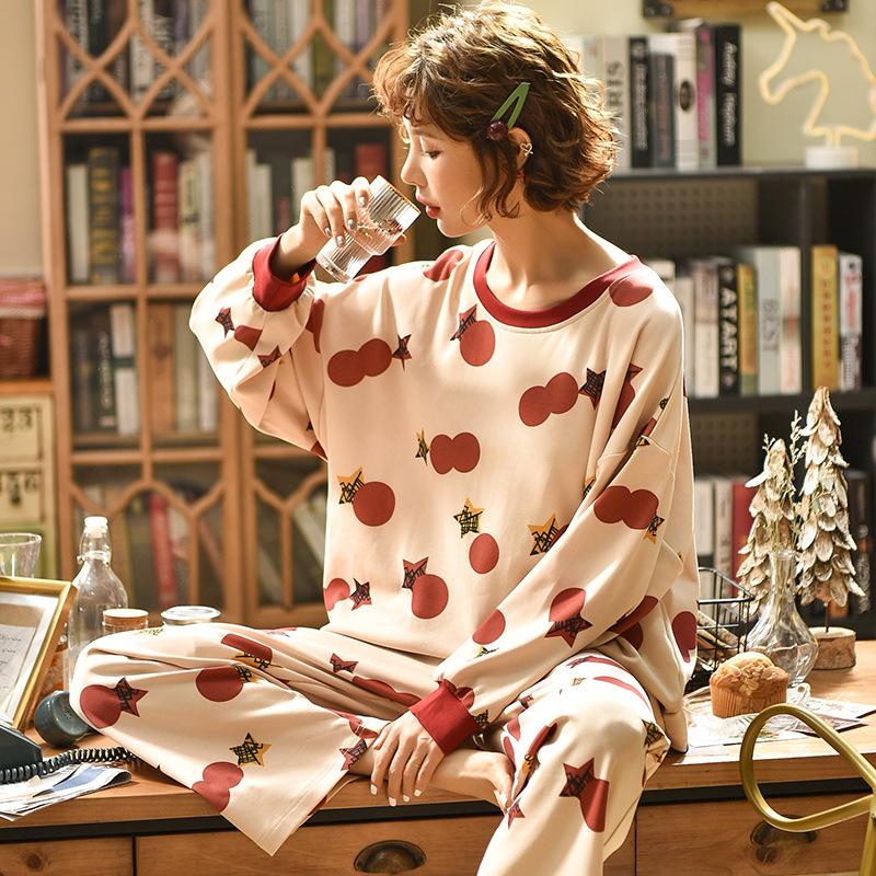 睡衣女夏季可愛春秋天可愛薄款家居服套裝家居服純色棉質網紅爆款