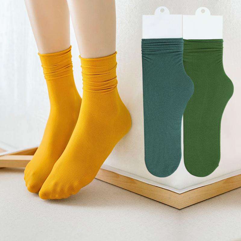 姜黄泫雅风袜子女 夏季薄款牛油果焦糖色堆堆袜小腿袜中筒袜ins潮