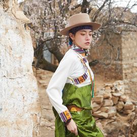 氆氇上衣,西藏藏风衬衣藏装女 传统藏袍 藏族衣服女 民族风服装图片