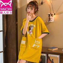 纯棉睡裙女夏季薄款学生宽松大码胖mm200斤中长款夏天可爱睡衣裙