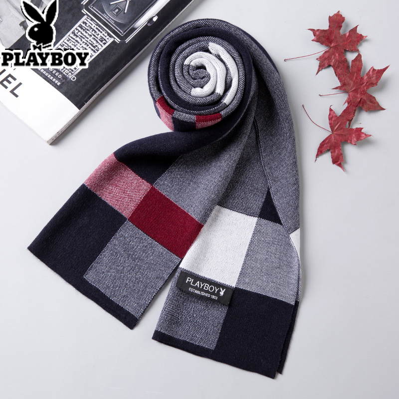 Playboy wool knitting scarf for men Korean Edition winter students knitting Plaid neckband gift box for birthday