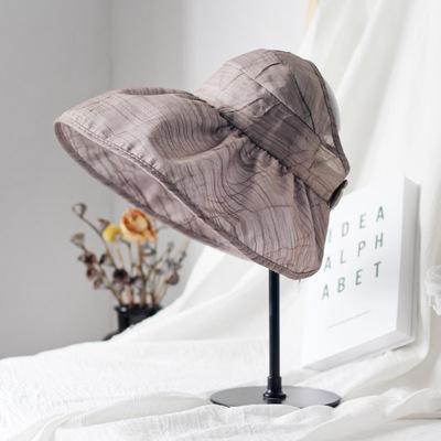 韩国进口肌理遮阳帽子女夏天户外防紫外线防晒折叠海岛大檐空顶帽