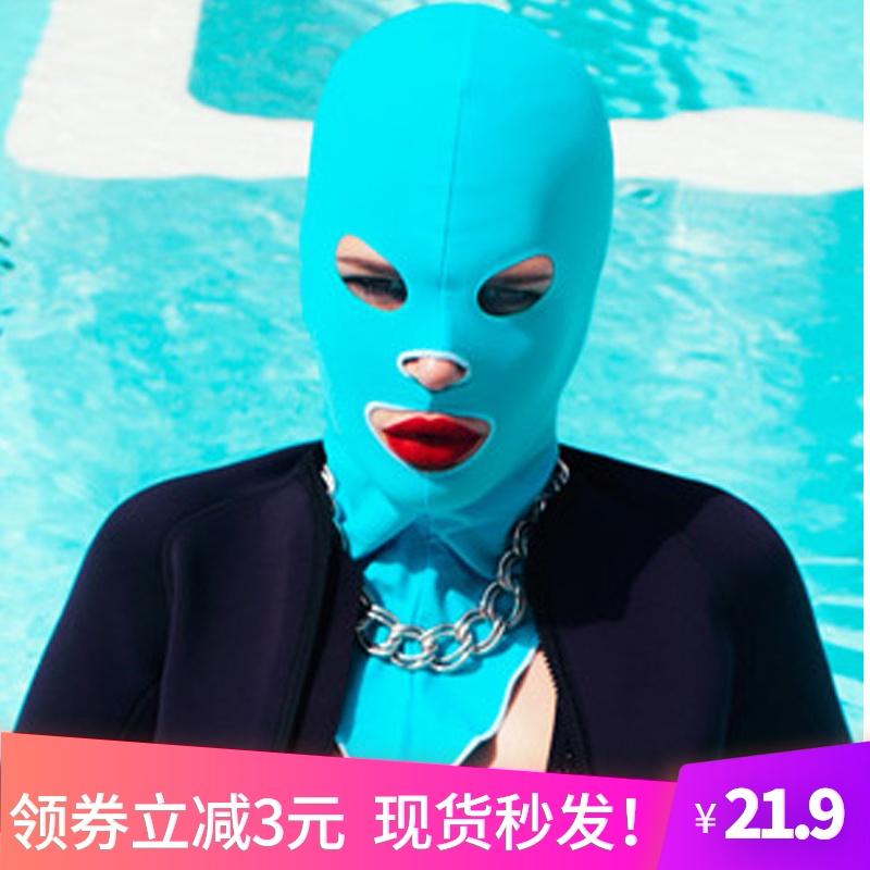 户外游泳头套男防晒脸基尼女面套泳帽面罩脸罩帽防紫外线海边装备