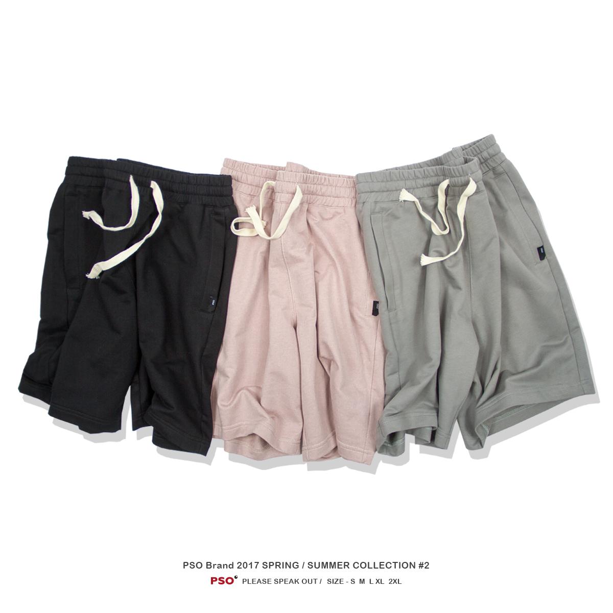 PSO Brand 潮牌纯色五分宽松沙滩裤青少年针织纯棉粉色运动短裤男热销61件手慢无