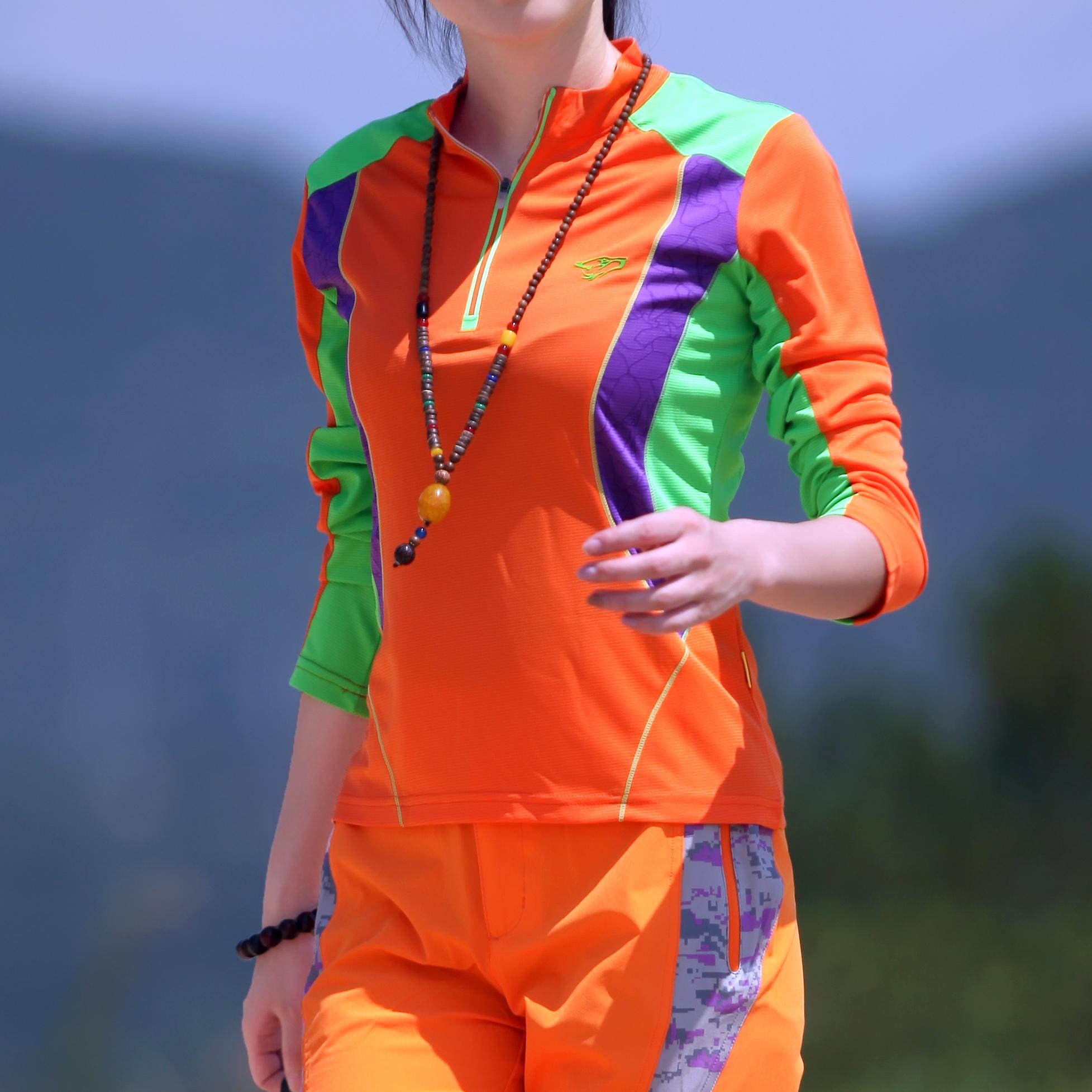 限时秒杀户外速干衣女长袖运动t恤立领透气大码修身跑步登山防晒快干上衣
