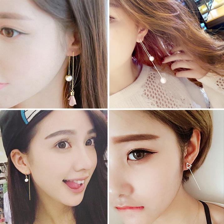 9.90元包邮s925纯银日韩气质长款女流苏夏耳环