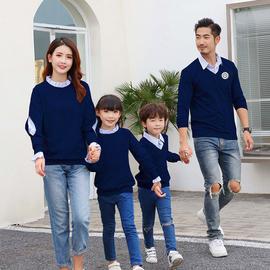 亲子装秋装2020新款翻领假两件时尚长袖卫衣全家装休闲家庭装外套