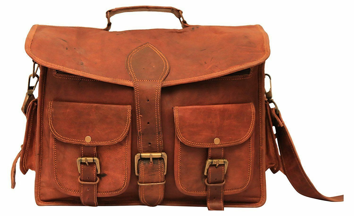 Purchase of hand made leather bag mens Retro Leather Messenger notebook computer bag official bag buckle double pocket
