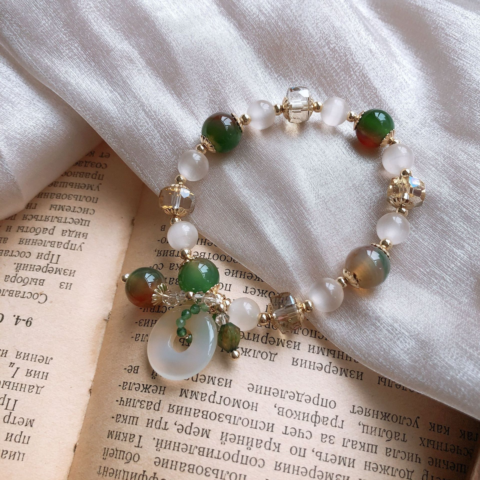 Green rock crystal personality cats eye crystal round jade pendant bracelet Korean version simple personality Bracelet minority design package