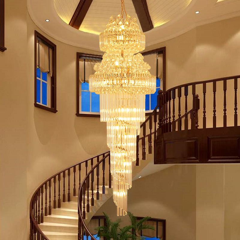 Villa stair lamp long chandelier European style duplex living room crystal chandelier modern simple revolving stair Chandelier