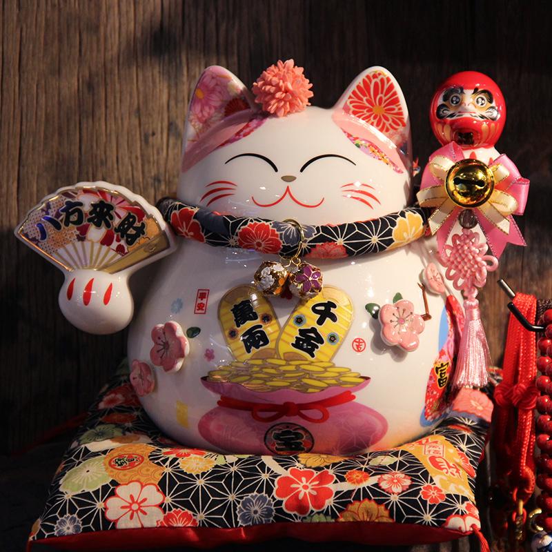 日式招财猫店铺收银台小摆件创意存钱罐开业礼物家居客厅玄关饰品