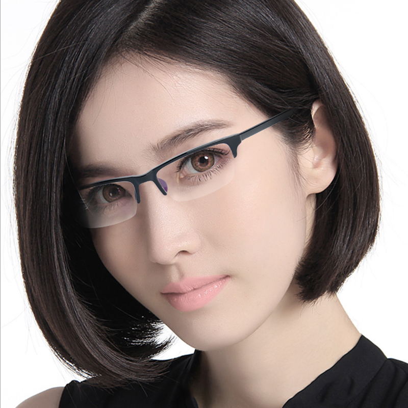 0-800 degree finished myopic glasses for women and men half frame resin glasses TR90 ultra light blue light resistant students