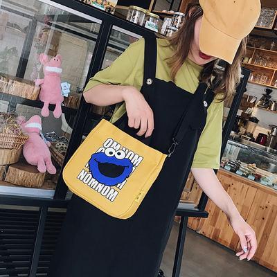 芝麻街卡通可愛大容量帆布包日系韓版原宿女學生單肩包手提斜挎包