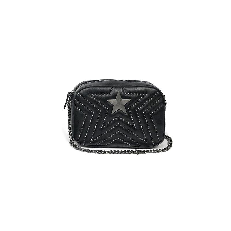K姐 星星铆钉包 复古两色选单肩斜挎时尚五角星链条相机包女包包