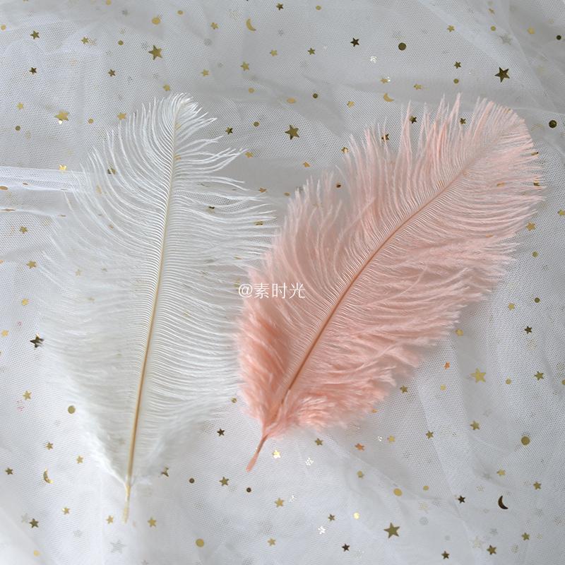 ins白色羽毛粉色鸵鸟毛拍照背景装饰 化妆品饰品网红摄影摆拍道具