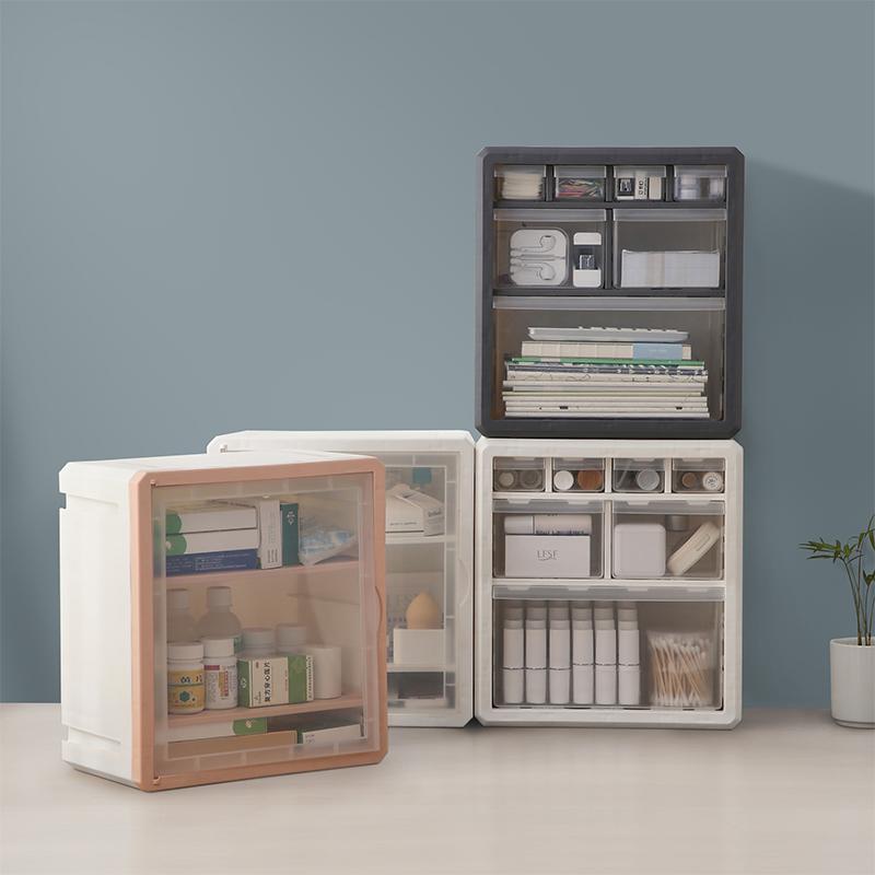 桌面收納盒塑料抽屜式化妝品辦公桌小零件樂高多層柜置物架儲物箱