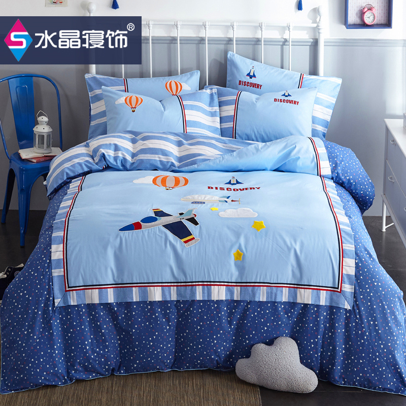 Cartoon cotton 1.8m four piece set cotton childrens Embroidery 1.2m boys and girls three piece set upper and lower bed quilt cover