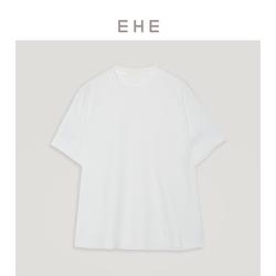 EHE男装 2021夏季新款白色纯棉针织简约印花休闲圆领短袖t恤男