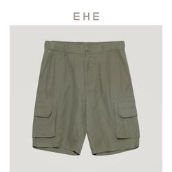 EHE男装 2021夏季新款绿色亚麻宽松休闲舒适透气五分工装短裤男