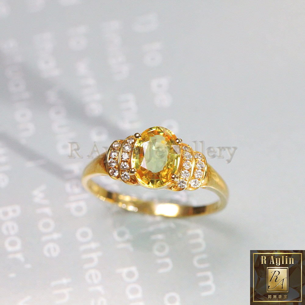 18K gold inlaid diamond natural yellow sapphire ring womens ring color gem custom inlay