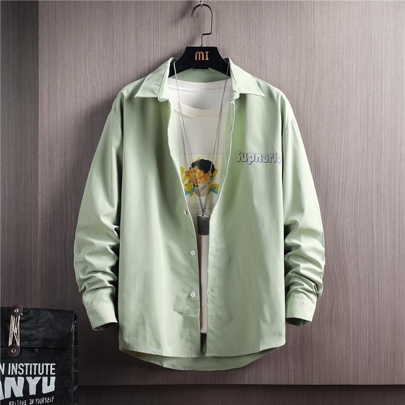 CS114-P35 2021春季新款男士休闲时尚潮流衬衣青年学生衬衫男装