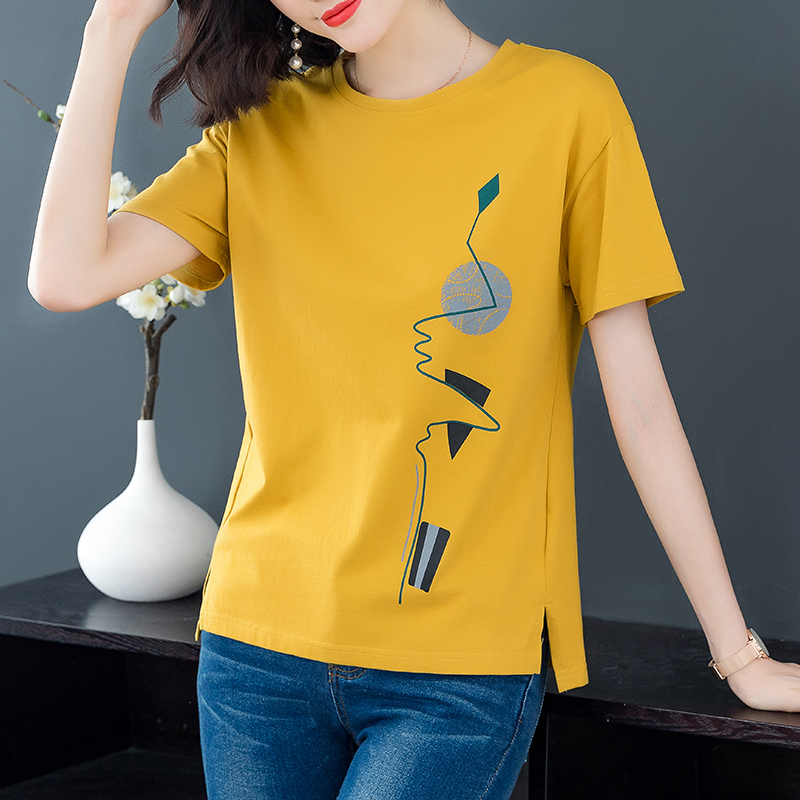 Short-sleeved t-shirt women 2021 new women's summer clothes pure cotton Korean version loose large size fat mm printed t-shirt top