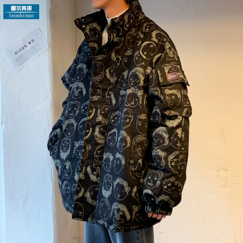 Take cotton men's tide brand loose INS cartoon avatar printed down cotton clothing warm cotton jacket winter coat male