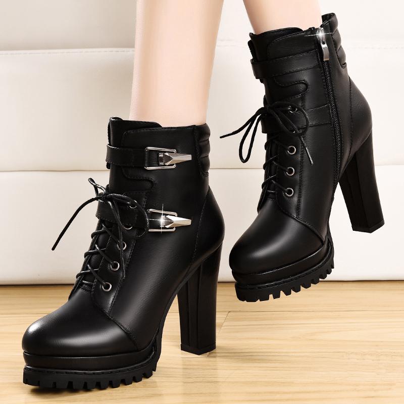 粗跟短靴女2019新款机车马丁靴女英伦风秋冬高跟加绒女鞋厚底棉鞋